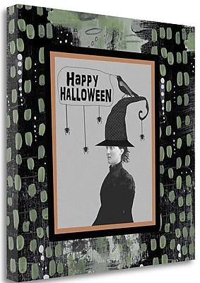 Tangletown Fine Art 'Halloween Witch and Crow' Graphic Art Print on Wrapped Canvas; 35'' H x 35'' W