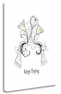 Tangletown Fine Art 'Keep Trying' Graphic Art Print on Wrapped Canvas; 32'' H x 28'' W