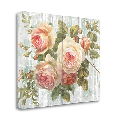 Tangletown Fine Art 'Vintage Roses on Driftwood' Graphic Art Print on Canvas; 28'' H x 35'' W
