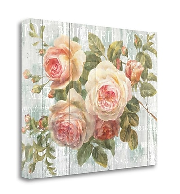 Tangletown Fine Art 'Vintage Roses on Driftwood' Graphic Art Print on Canvas; 21'' H x 26'' W