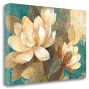 Tangletown Fine Art 'Turquoise Magnolias' by Albena Hristova Painting Print on Wrapped Canvas
