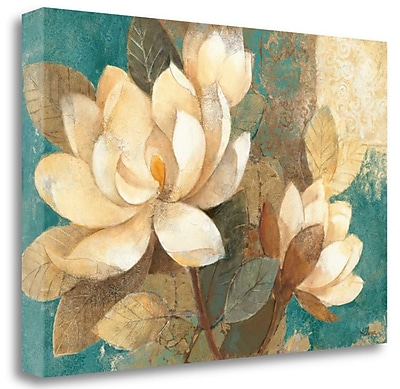 Tangletown Fine Art 'Turquoise Magnolias' Print on Wrapped Canvas; 26'' H x 39'' W