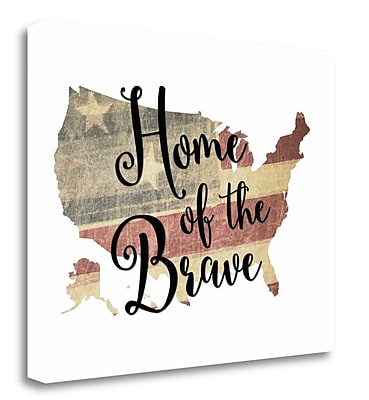 Tangletown Fine Art 'Home of the Brave' Textual Art on Wrapped Canvas; 16'' H x 20'' W