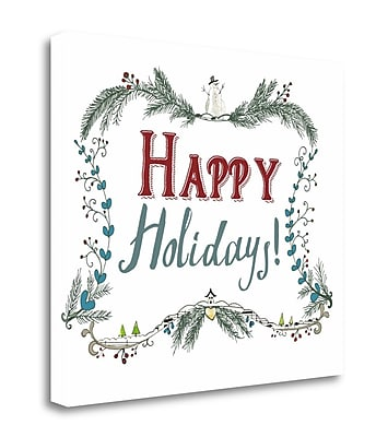 Tangletown Fine Art 'Happy Holidays Wreath' Textual Art on Wrapped Canvas; 18'' H x 20'' W