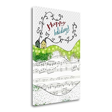 Tangletown Fine Art Happy Holidays Houses' Graphic Art Print on Canvas; 34'' H x 24'' W