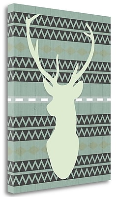 Tangletown Fine Art 'Green Tribal Deer Head on Gray' Graphic Art Print on Wrapped Canvas