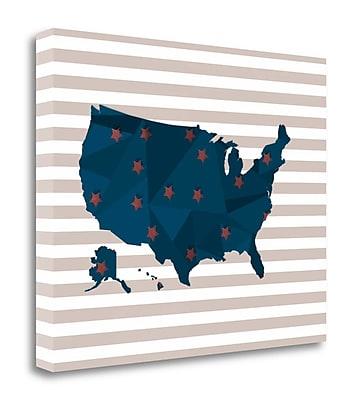 Tangletown Fine Art America Blue Red Stripes' Graphic Art Print on Canvas; 16'' H x 20'' W