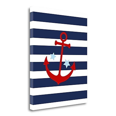 Tangletown Fine Art 'Anchor Stripe Boy' Graphic Art Print on Wrapped Canvas; 32'' H x 26'' W