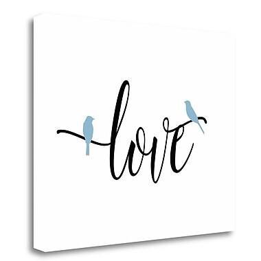 Tangletown Fine Art 'Blue Bird Love' Textual Art on Wrapped Canvas; 16'' H x 20'' W