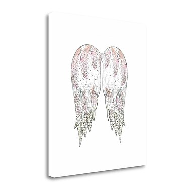 Tangletown Fine Art 'Wings w/ Pink Feathers' Graphic Art Print on Canvas; 28'' H x 25'' W