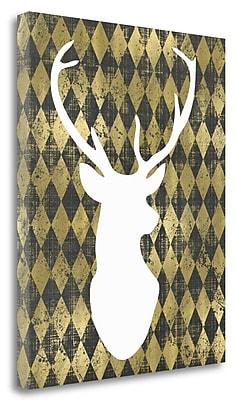 Tangletown Fine Art 'White Deerhead' Graphic Art Print on Wrapped Canvas; 32'' H x 26'' W