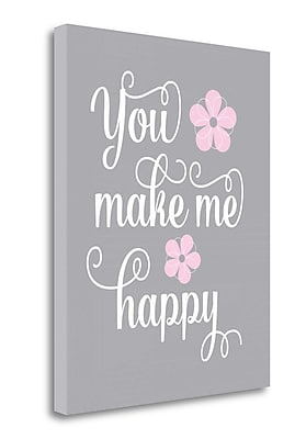 Tangletown Fine Art 'You Make Me Happy' Textual Art on Wrapped Canvas; 40'' H x 32'' W
