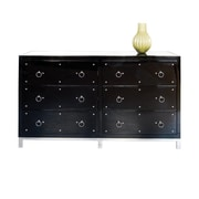 WorldsAway 6 Drawer Buffet Table; Black Lacquer