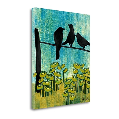 Tangletown Fine Art 'Birds and Poppies' Print on Wrapped Canvas; 26'' H x 21'' W