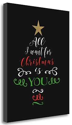 Tangletown Fine Art 'All I Want For Christmas' Textual Art on Wrapped Canvas; 36'' H x 28'' W