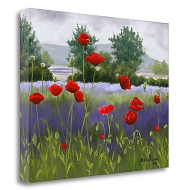 Tangletown Fine Art Poppies And Lavender' Print on Canvas; 25'' H x 31'' W