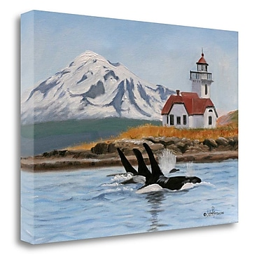Tangletown Fine Art 'Patos Lighthouse and Orcas' Print on Wrapped Canvas; 28'' H x 39'' W