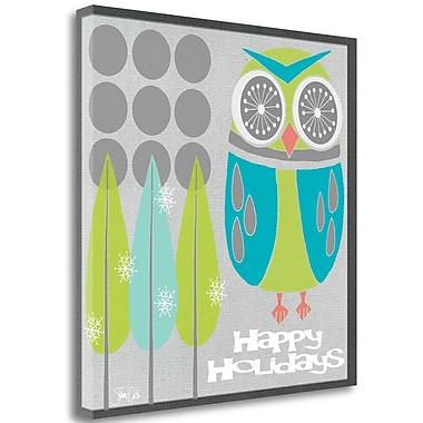 Tangletown Fine Art 'Retro Holiday Owl I' Graphic Art Print on Wrapped Canvas; 35'' H x 35'' W