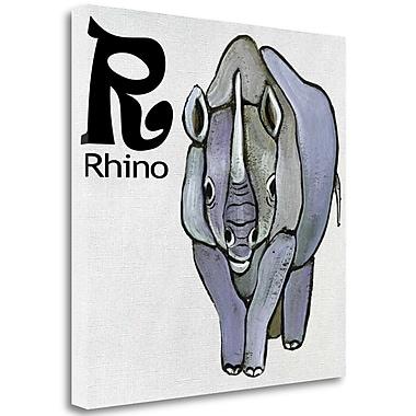 Tangletown Fine Art 'R - Rhino' Graphic Art Print on Canvas; 20'' H x 20'' W