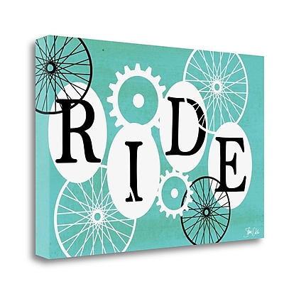 Tangletown Fine Art 'Ride in Teal' Textual Art on Wrapped Canvas; 18'' H x 28'' W