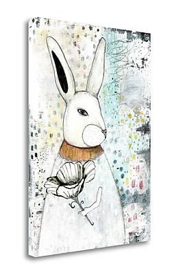 Tangletown Fine Art 'The Rabbit and the Flower' Graphic Art Print on Wrapped Canvas; 39'' H x 28'' W
