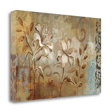 Tangletown Fine Art 'Flowers on Silver I Wag' Print on Wrapped Canvas; 32'' H x 48'' W
