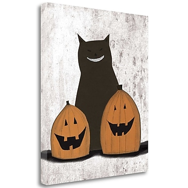 Tangletown Fine Art 'Cat and Pumpkins' Graphic Art Print on Wrapped Canvas; 32'' H x 28'' W