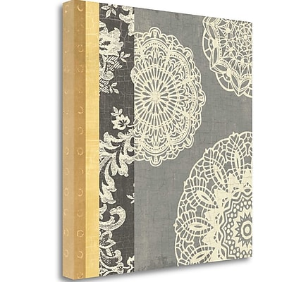 Tangletown Fine Art 'Contemporary Lace I Yellow Gray' Graphic Art Print on Wrapped Canvas