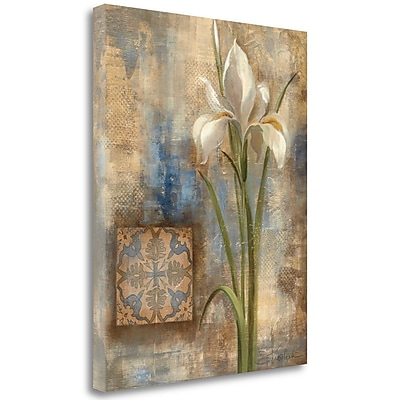 Tangletown Fine Art 'Iris and Tile' Painting Print on Wrapped Canvas; 32'' H x 26'' W