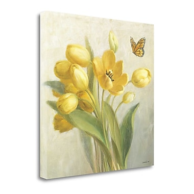 Tangletown Fine Art 'Yellow French Tulips' by Danhui Nai Painting Print on Wrapped Canvas