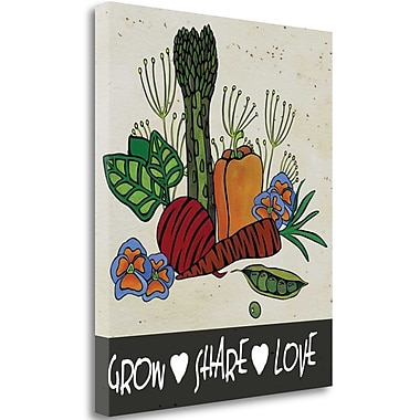 Tangletown Fine Art Grow Share Love' Graphic Art Print on Canvas; 42'' H x 35'' W