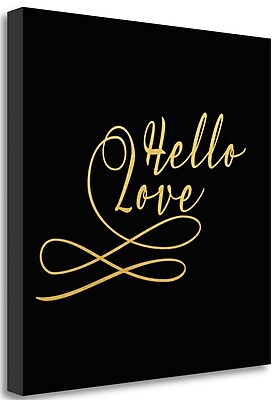 Tangletown Fine Art Hello Love Gold' Textual Art on Canvas; 23'' H x 23'' W