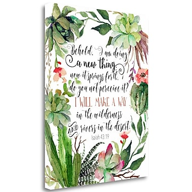 Tangletown Fine Art 'Isaiah 43-19 Floral' Textual Art on Canvas; 36'' H x 28'' W