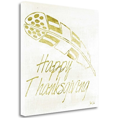 Tangletown Fine Art 'Happy Thanksgiving' Textual Art on Wrapped Canvas; 18'' H x 18'' W