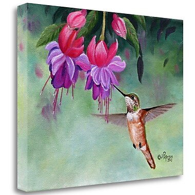Tangletown Fine Art 'Hummer and Pink Fuchsias' Print on Canvas; 21'' H x 29'' W
