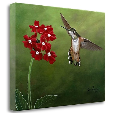 Tangletown Fine Art 'Hummer and Red Flowers' Print on Canvas; 25'' H x 33'' W