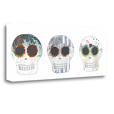 Tangletown Fine Art 'Three Sugar Skulls' Graphic Art Print on Canvas; 12'' H x 29'' W