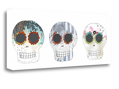 Tangletown Fine Art Three Sugar Skulls' Graphic Art Print on Canvas; 19'' H x 48'' W
