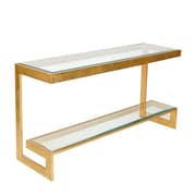 WorldsAway 2 Tier Low Console Table; Gold Leaf