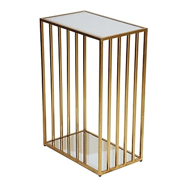 WorldsAway End Table; Gold