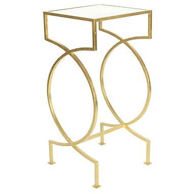 WorldsAway Iron End Table; Gold