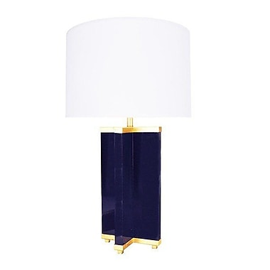 WorldsAway Cross Base 30.5'' Table Lamp; Navy Lacquer