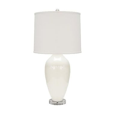 WorldsAway Urn Style Ceramic 31'' Table Lamp; White