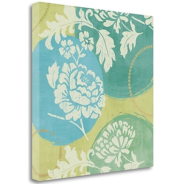 Tangletown Fine Art 'Floral Decal Turquoise I' by Veronique Charron Graphic Art on Wrapped Canvas