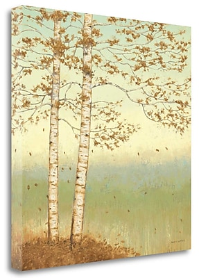 Tangletown Fine Art 'Golden Birch I w/ Blue Sky' by James Wiens Painting Print on Wrapped Canvas