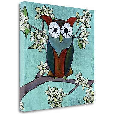 Tangletown Fine Art 'Woodland Owl in Cherry Blossoms' Graphic Art Print on Canvas; 18'' H x 18'' W