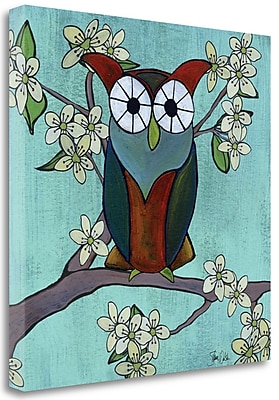 Tangletown Fine Art 'Woodland Owl in Cherry Blossoms' Graphic Art Print on Canvas; 20'' H x 20'' W