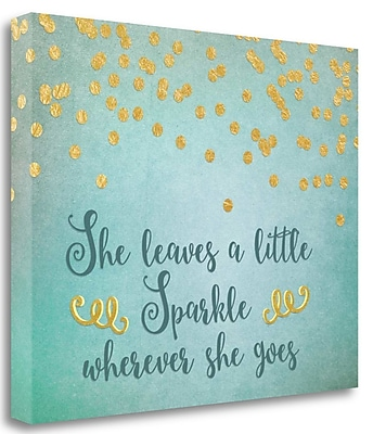 Tangletown Fine Art 'She Leaves a Little Sparkle in Teal' Textual Art on Wrapped Canvas