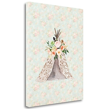 Tangletown Fine Art 'TeePee on Floral' Graphic Art Print on Wrapped Canvas; 23'' H x 18'' W