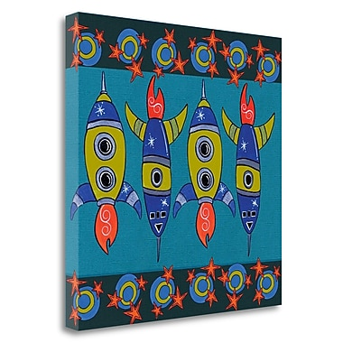 Tangletown Fine Art 'Space Rockets' Graphic Art Print on Canvas; 20'' H x 20'' W